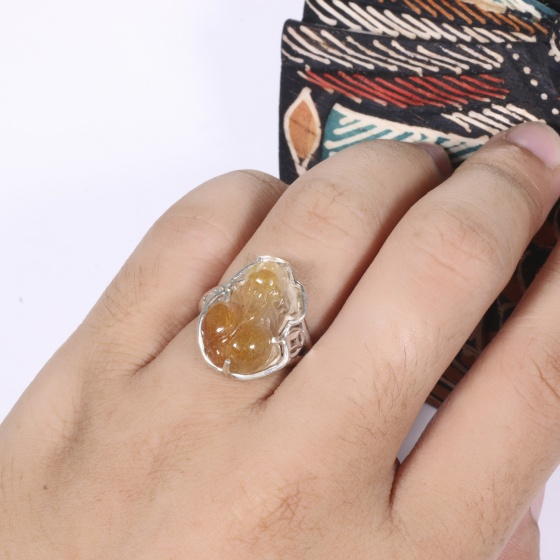 Nhẫn bạc tỳ hưu đá thạch anh tóc đỏ ni 17 mệnh hỏa, thổ - Ngọc Quý Gemstones