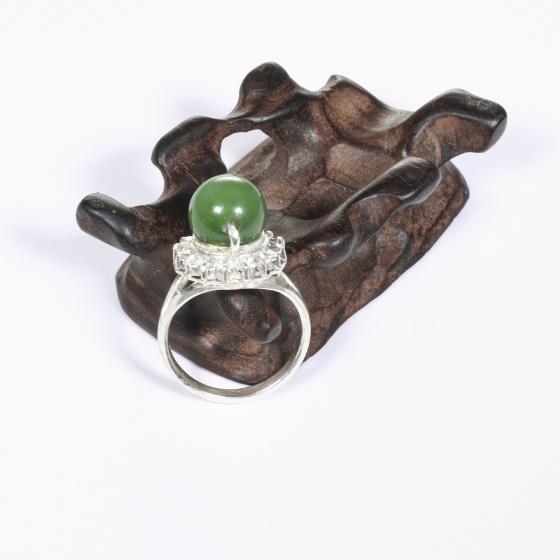 Nhẫn bạc hạt tròn đá ngọc bích ni 17 mệnh hỏa, thổ - Ngọc Quý Gemstones