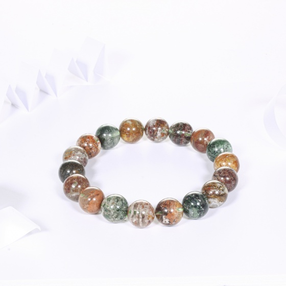 Vòng tay thạch anh ưu linh rêu đa sắc hạt đá 11mm - Ngọc Quý Gemstones