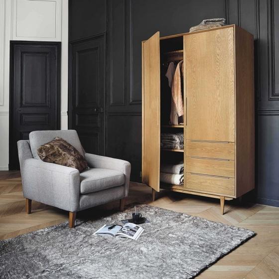 Tủ quần áo Portobello gỗ tự nhiên 1m2 - Cozino