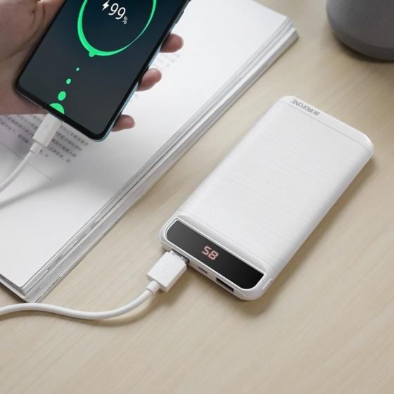 Pin sạc dự phòng Borofone BT29, 10000mah, micro USB - USB C, 2 cổng sạc 2.1A, đèn led hiển thị dung lượng pin