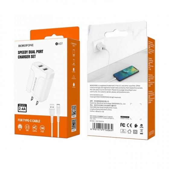 Bộ cóc cáp sạc nhanh Borofone BA37 2 cổng USB, cáp type C chuẩn US