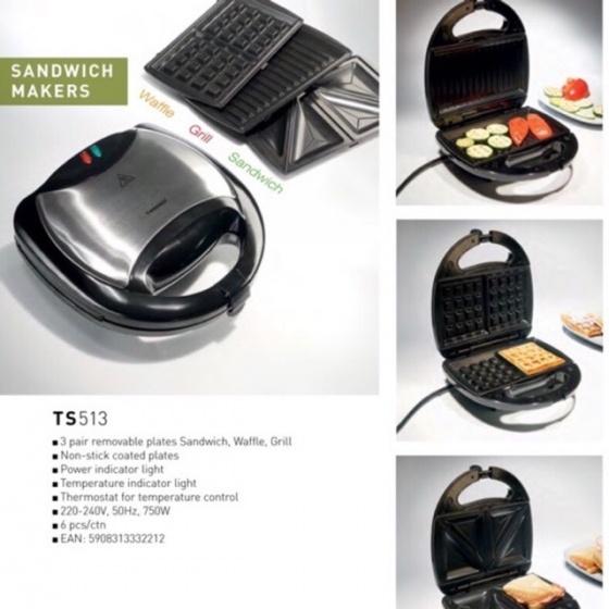 Máy nướng bánh Sanwich 3 in 1 Tiross TS513