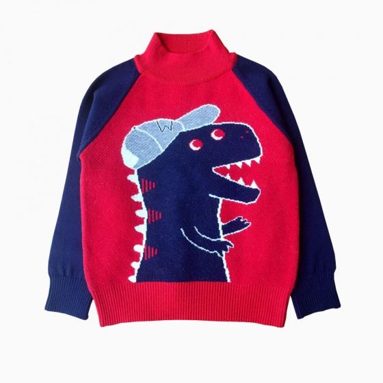 Áo len bé trai khủng long màu đỏ (2-8 tuổi)