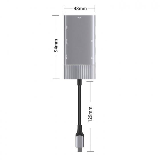 Bộ dock chuyển Type C 6 trong 1 Aturos OT 951(HDMI 4K, VGA, HUB USB, khe thẻ nhớ SDTF,cổng sạc PD)