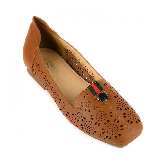 Giày búp bê êm chân Sunday BB40 nâu đậm