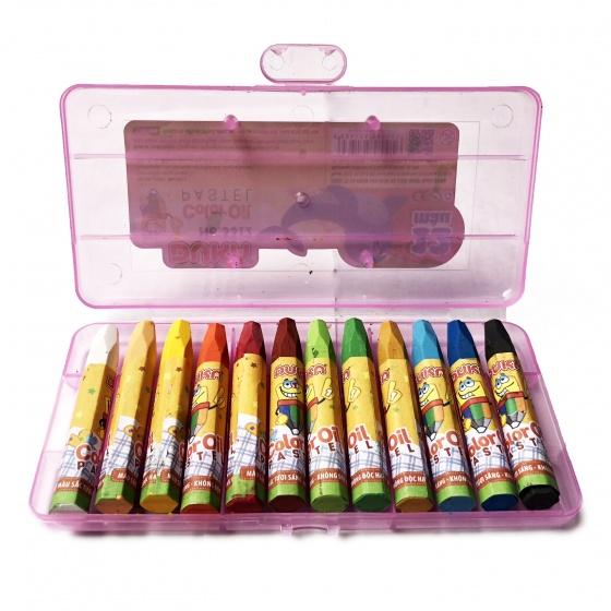 Bút sáp dầu 12 màu - hộp nhựa