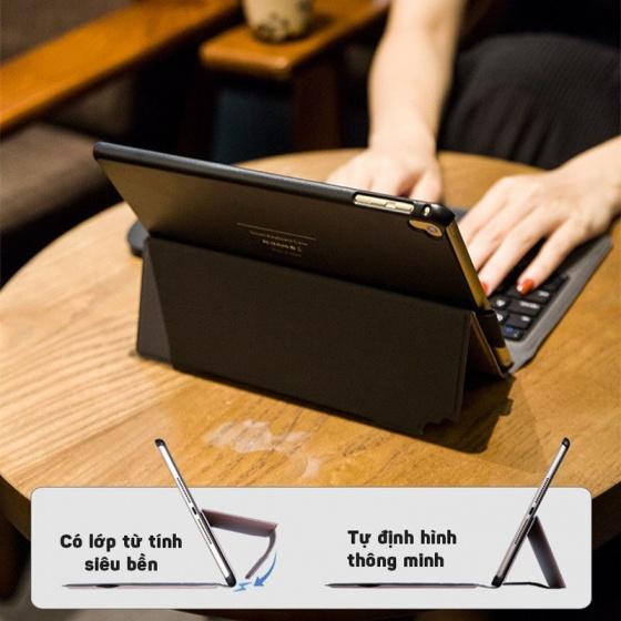 Bàn phím Bluetooth cho iPad 9.7, 2018, 2017, Air2 có touchpad kèm bao da Promax T1091 - Black