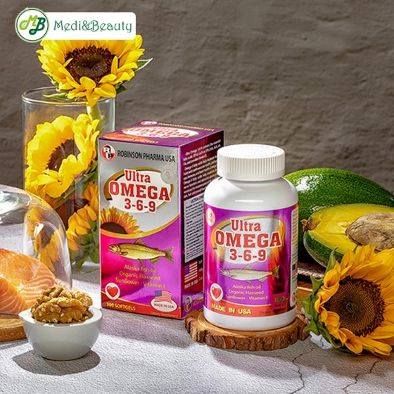 Viên uống sáng mắt, bổ não, tăng trí nhớ Ultra Omega 369 Robinson Pharma Usa - chai 100 viên - nhập khẩu Mỹ