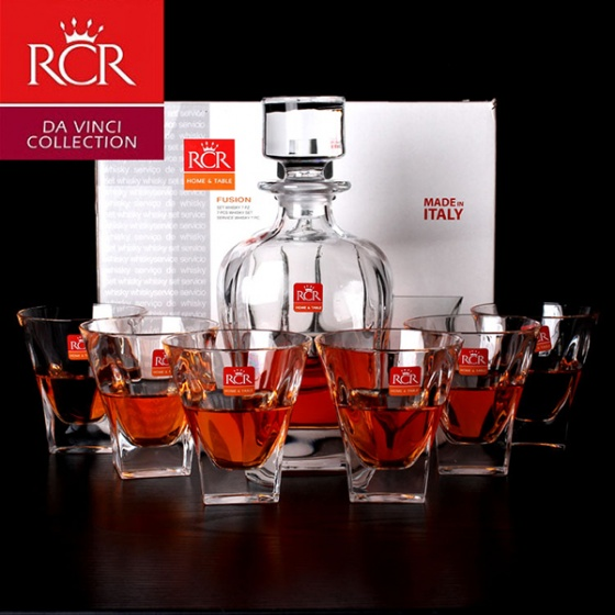 Bộ bình và 6 ly rượu mạnh Pha lê không chì Ý RCR Fusion