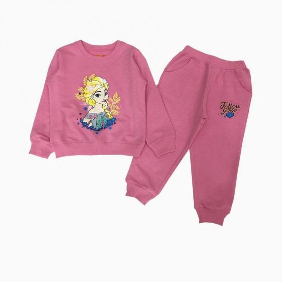 Đồ bộ bé gái dài tay họa tiết Elsa màu hồng phấn (2-9 tuổi)