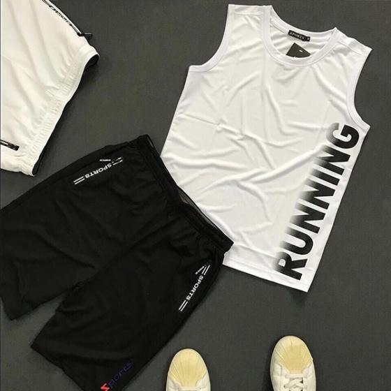 Quần short thể thao nam phối dây kéo lưng thun bản rộng hiệu dokafashion - BLACK SOT01