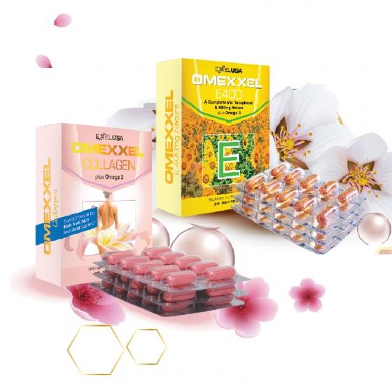 Bộ viên uống bổ sung Vitamin E, chống lão hóa Omexxel E400 và Collagen 60 viên - xuất xứ Mỹ
