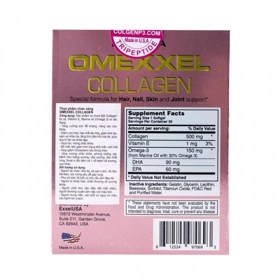 Bộ viên uống trắng da, giảm thâm nám Omexxel Collagen và Skin 60 viên - xuất xứ Mỹ