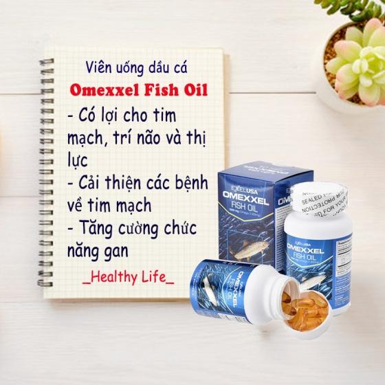 Viên uống dầu cá Omexxel Fish Oil 1000mg (Lọ 100 viên) - xuất xứ Mỹ + tặng 1 lọ dầu tràm con yêu 30ml