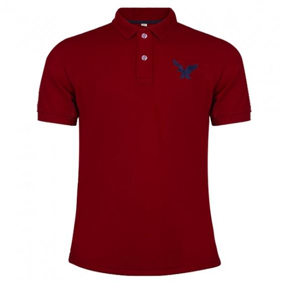 Áo phông nam có cổ polo dokafashion, combo 3 áo logo màu đỏ đô, xám, xanh đen Black DB307
