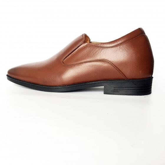 Giày nam tăng chiều cao màu nâu da thật Geleli