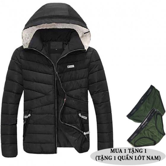 Áo khoác phao có mũ tháo rời nam nữ tặng quần lót nam dokafashion BLACK PN02