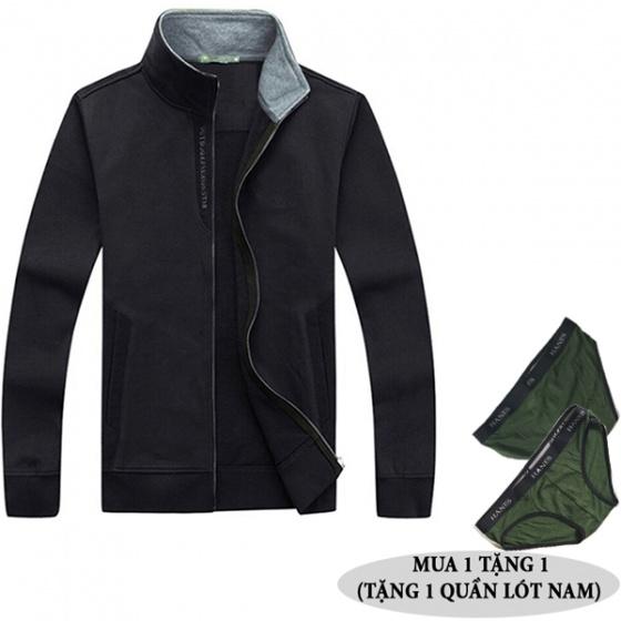 Áo khoác nỉ nam chống gió lạnh thu đông Dokafashion BLACK N-V02 (tặng 1 quần lót nam)