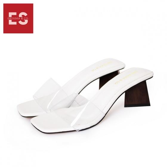 Dép nữ, dép cao gót vuông mules Erosska cao 5cm EM025 (WH)