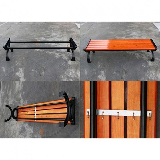 Ghế công viên gang đúc, nan gỗ thông Chile GCV-01