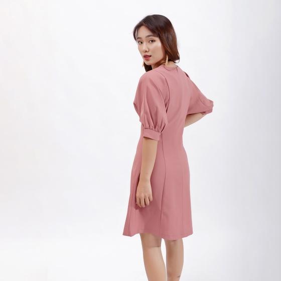 Váy đầm chữ a thời trang Eden tay cánh dơi phối nút màu hồng- D386