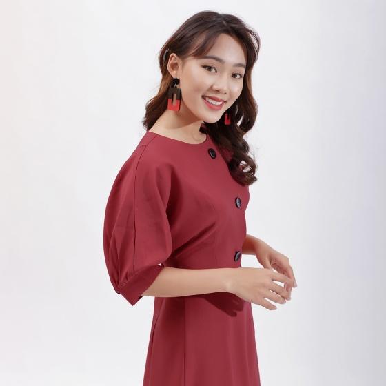 Váy đầm chữ a thời trang Eden tay cánh dơi phối nút màu đỏ- D386