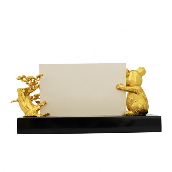Giá đỡ danh thiếp hình chuột mạ vàng 24K