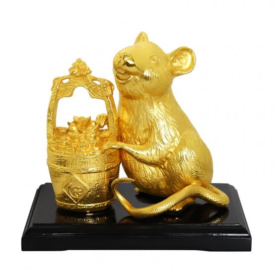 Tượng chuột tài lộc phong thủy mạ vàng 24K