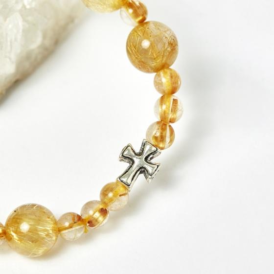 Vòng chuỗi Mân Côi đá thạch anh tóc vàng hạt đá 10mm, đk 52mm - Ngọc Quý Gemstones