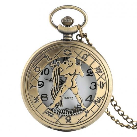 Đồng hồ pin quả quýt bỏ túi cổ điển retro tháng sinh 12 cung hoàng đạo Bảo Bình Thuỷ Bình Aquarius
