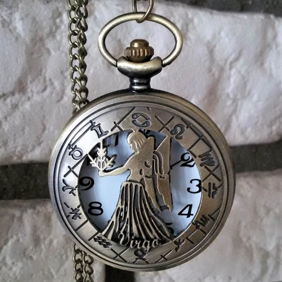 Đồng hồ pin quả quýt bỏ túi cổ điển retro tháng sinh 12 cung hoàng đạo Xử Nữ Trinh Nữ Virgo