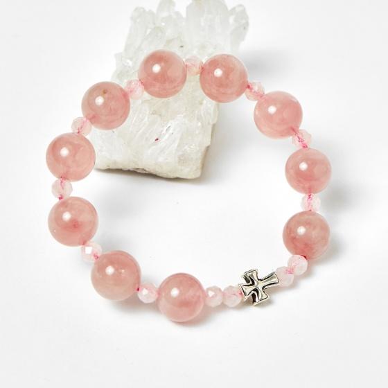 Vòng chuỗi Mân Côi đá thạch anh hồng 12mm, ni 52 - Ngọc Quý Gemstones
