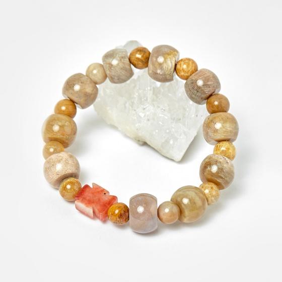 Vòng chuỗi Mân Côi san hô hóa thạch hạt đá 12mm, ni 50 - Ngọc Qúy Gemstones