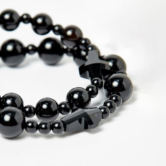Cặp vòng chuỗi Mân Côi mẹ và bé đá Obsidian đen ni 52, ni 40 - Ngọc Quý Gemstones