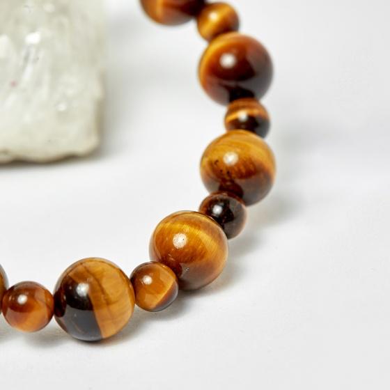 Vòng chuỗi Mân Côi đá thạch anh mắt hổ vàng nâu ni 52 - Ngọc Quý Gemstones