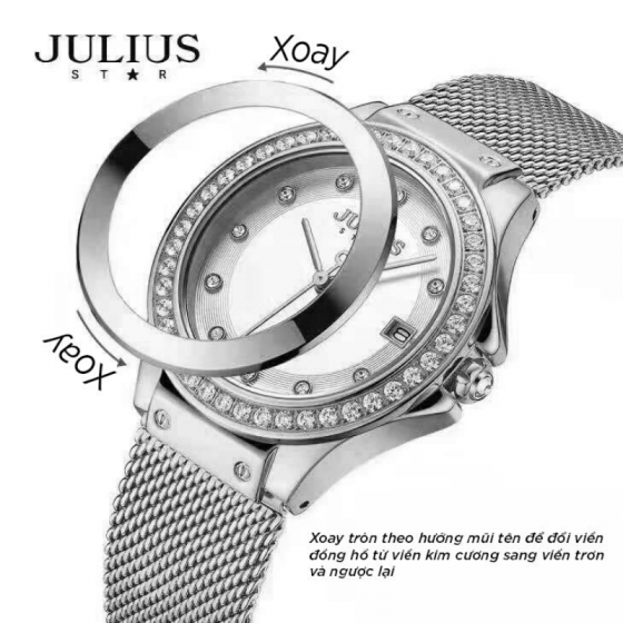Combo 4 trong 1 đồng hồ Julius star JS-040A kèm dây và lắc tay