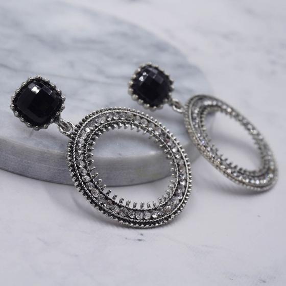 Bông tai khoen tròn đính đá - Tatiana - BH2951B (Bạc)