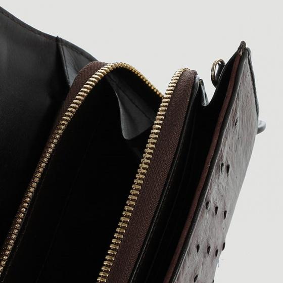 Túi đeo da đà điểu Huy Hoàng da bụng màu nâu đất HV6424