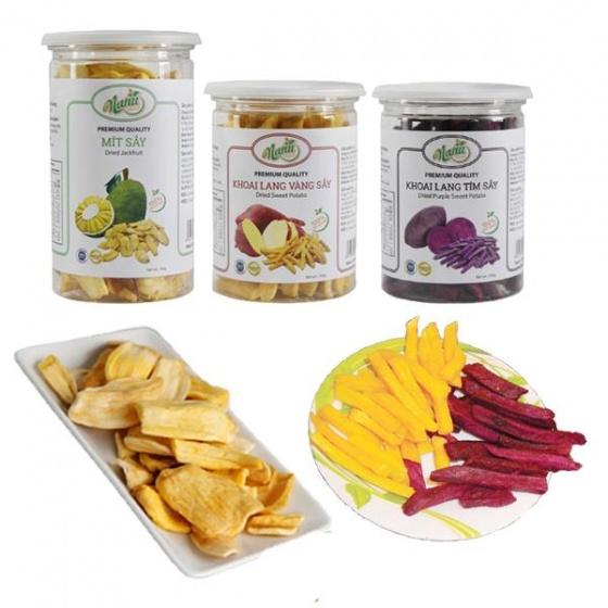 Combo 3 hũ trái cây sấy mít khoai lang vàng và khoai lang tím