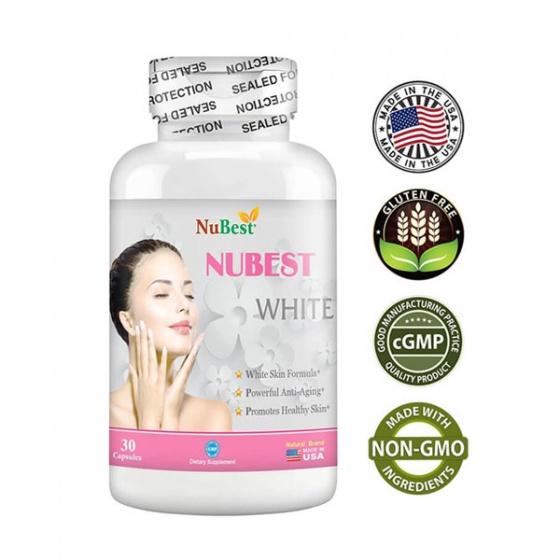 Thực phẩm bảo vệ sức khỏe giúp hỗ trợ sáng da của Mỹ NuBest White - hộp 30 viên