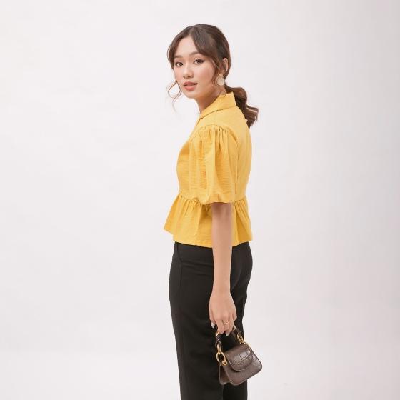 Áo kiểu thời trang Eden dáng ngắn cổ tim danton tay phồng - ASM059