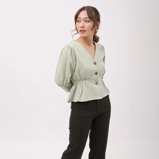 Áo kiểu thời trang Eden dáng ngắn tay lỡ cổ v eo chun - ASM060
