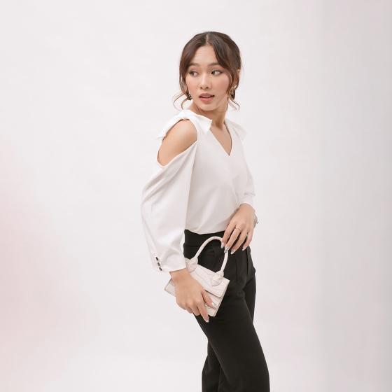Áo kiểu thời trang Eden cổ c tay dài cut - out vai phối nơ - ASM062