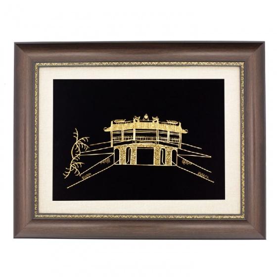 Tranh chùa cầu Hội An mạ vàng 24K