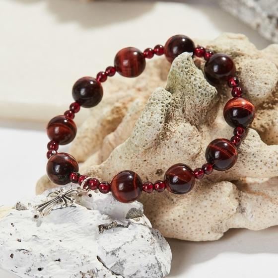 Vòng tay Mân Côi đá thạch anh mắt hổ nâu đỏ hạt 10mm, ni 52 - Ngọc Quý Gemstones
