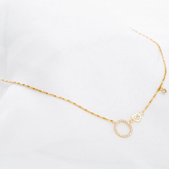Dây chuyền liên mặt vàng 14K đính đá DOJI 0819CP-LAL085