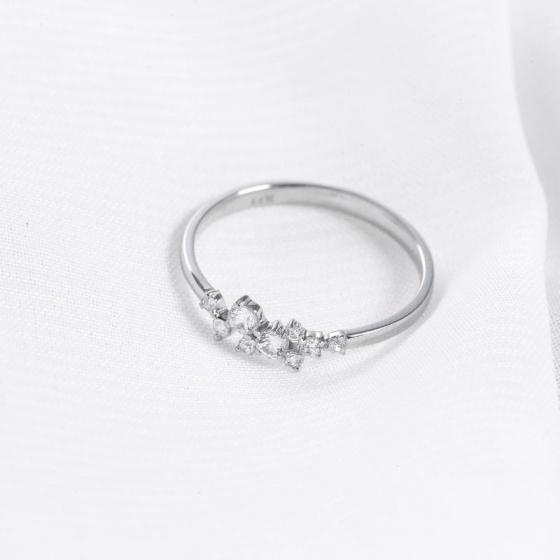 Nhẫn vàng trắng DOJI cao cấp 14K 0819R-LAL303