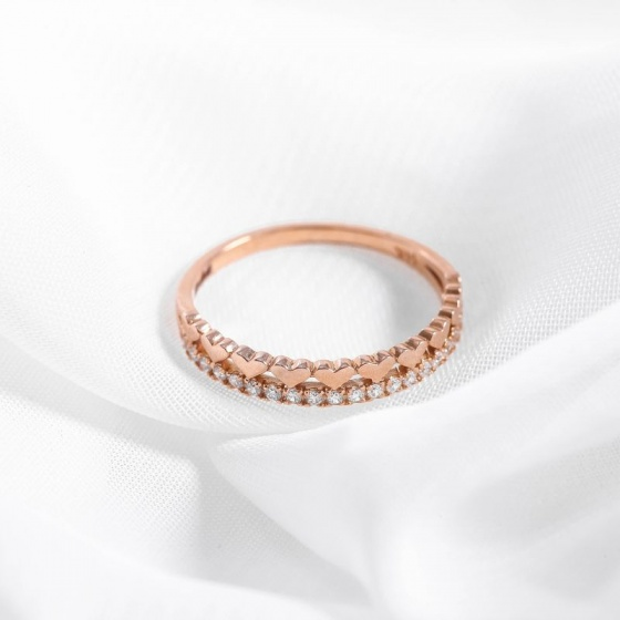 Nhẫn vàng hồng DOJI cao cấp 14K 0819R-LAL344