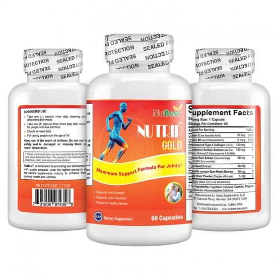 Thực phẩm bảo vệ sức khoẻ hỗ trợ xương khớp của Mỹ NuTrip Gold - hộp 60 viên